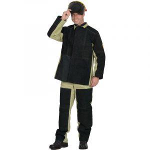 Костюм сварщика утепленный брезентовый со спилком с брюками